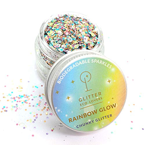 Rainbow Glow Biodegradable Chunky Glitter in Rainbow Pastels (15ml/8g) by Glitter Eco Lovers. Use on Skin, Hair, Nails…