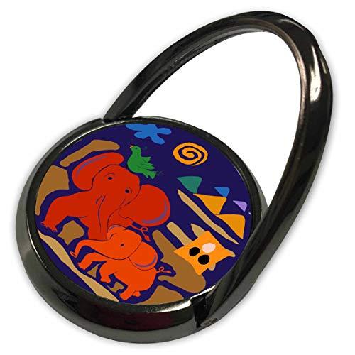 3dRose Lasha Beraia - Minimalist - Red Elephants and Emerald Green Bird - Phone Ring (phr_288720_1)
