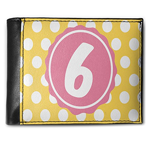 Wallet Monogram 6 Yellow Polka Dots Men's Bifold ID Case - Neonblond