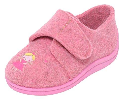 Filz Kinder Hausschuhe Gr.21-30 Klettverschluss Schuhe Puschen Pantoffeln Rosa