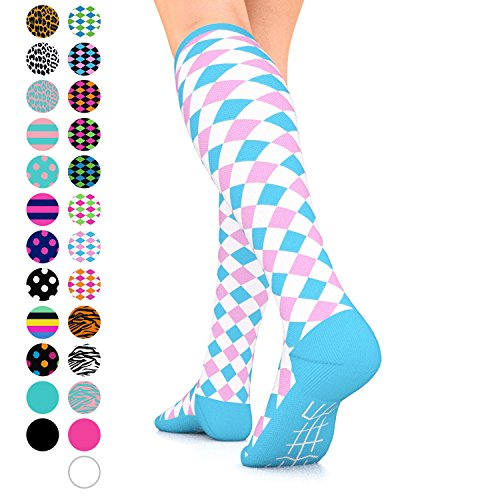 Go2Socks GO2 Compression Socks for Women Men Nurses Runners 15-20 mmHg (Medium) - Medical Stocking Maternity Travel - Best Performance Recovery Circulation Stamina (Harl White Pink Blue, -