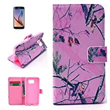 S6 Case, Galaxy S6 Wallet Case, BEST- Eshop Pink Hunter Army Print Camouflage Premium PU Leather + Silicone Special Slim Wallet Case Flip Cover with Stand For Samsung Galaxy S6 With a Free Screen Protector