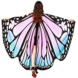 Flower Tiger Soft Fabric Butterfly Wings Shawl Fairy Ladies Nymph Pixie Costume Accessory (Blue Pink)