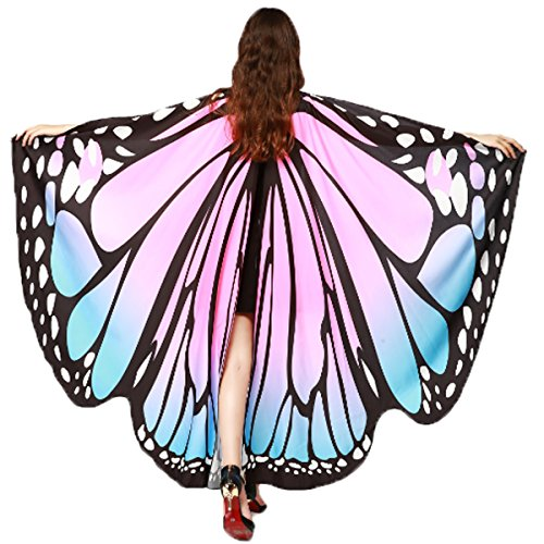 Soft Fabric Butterfly Wings Shawl Fairy Ladies Nymph Pixie Costume Accessory (Blue Pink)