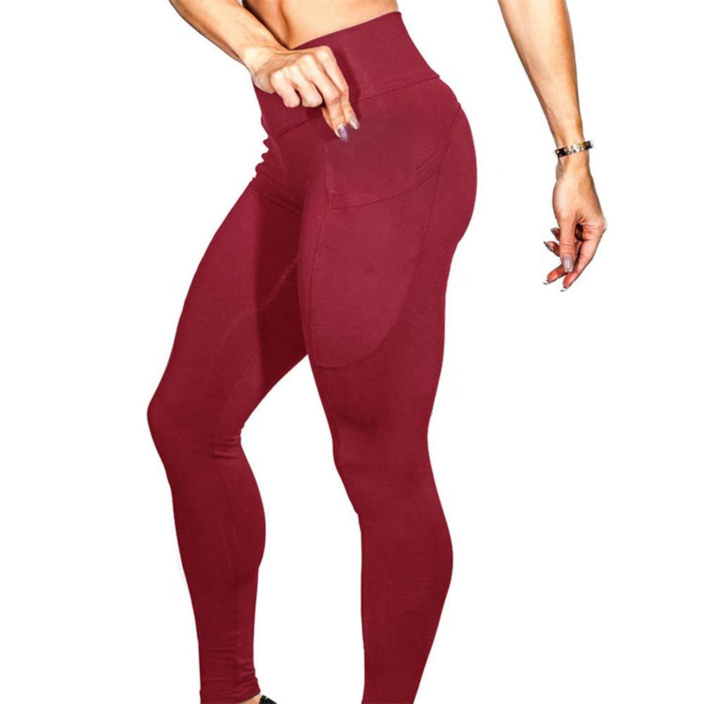 Leisial Pantalones Fitness Slim con Bolsillo Pantalones de ...
