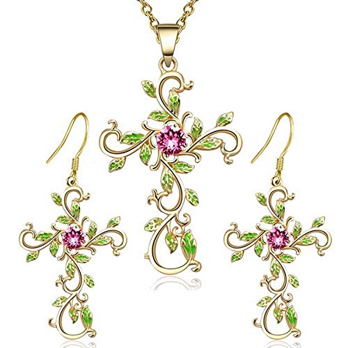 (TULIP LY Flower Plant Cross Pendant Chain Necklace Dangle Drop Hook Earring Set God We Trust Charm Flower Pink Crystal Green Enamel Cross Necklace Jewelry Suit Gift Women Girl (Gold Flower Cross Set))