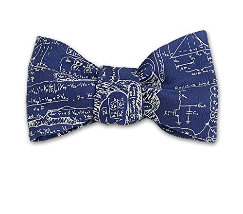 Josh Bach Mens Scientific Formulas Self Tie Silk Bow Tie in Blue, Made in USA -