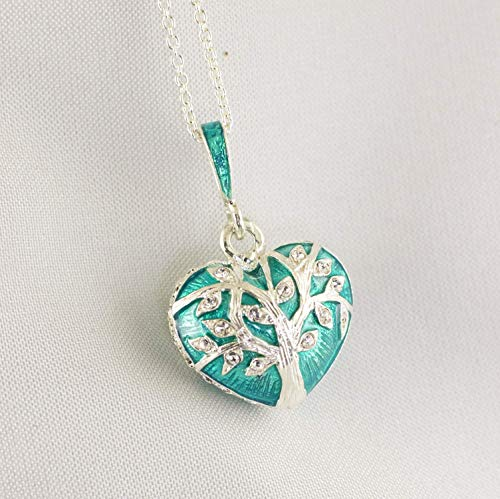 Tree of Life Heart Teal Pendant Sacred Tree Sterling Silver Necklace Enamel and Swarovski Crystals Jewelry for Women Large Heart Pendant