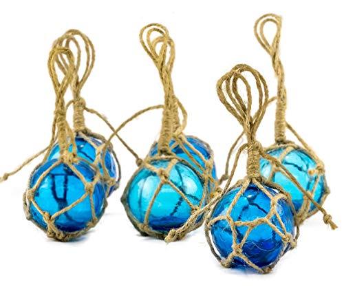 Beach Themed Christmas Ornaments Aqua Glass Float Balls | Fishing Buoy Balls | Perfect for Beach Weddings or as Christmas Ornaments (2″ Set of 6) | Plus Free Nautical Ebook by Joseph Rains beach themed christmas ornaments