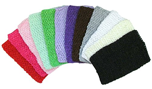 """Price comparison product image 8"""" Crochet Headbands Assorted 12 Pack Tutu Tops for Babies Infants and Toddlers"""