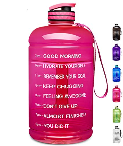 Venture Pal Large 1 Gallon/128 OZ & 74 OZ Motivational Leakproof BPA Free Water Bottle with Time Marker Perfect for Fitness Gym Camping Outdoor Sports-1Gallon-Pink (Gallon Container Water)