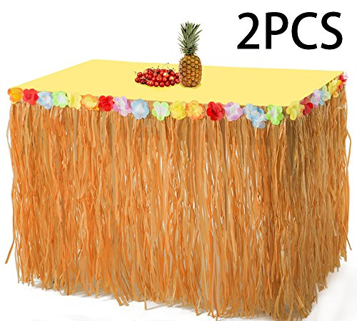 2PCS Luau Hawaiian Grass Table Skirt Decorations - Hula Hibiscus Tropical Birthday Summer Pool Party (Hibiscus Table)