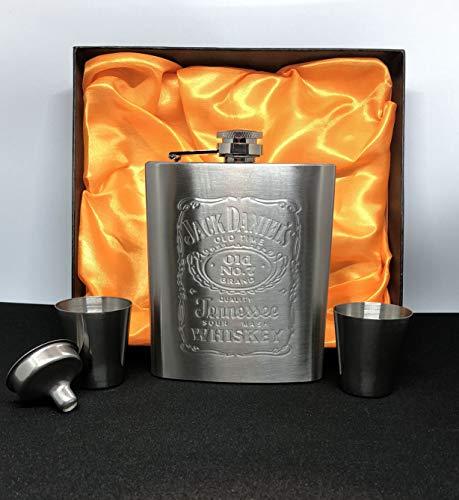 Hip Flask Gift Set 7oz Jack Daniels Embossed Stainless Steel Hip Flask with Funnel & Two shot - Set Flask Daniels Jack