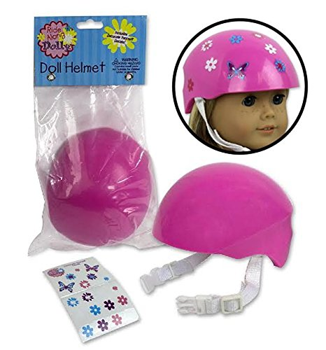 - Dress Along Dolly Doll Bike Helmet - Pink Bike Helmet with Easy Strap and Decorate Yourself Decals - Fits American Girl