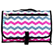 Baby Steps - The Best Portable Diaper Change Pad & Compact Diapers Bag -Travel Pronto Changing Station Mat – Perfect Baby Shower Gift or Present For Mom of Newborn Boys or Girls (Chevron Pink)