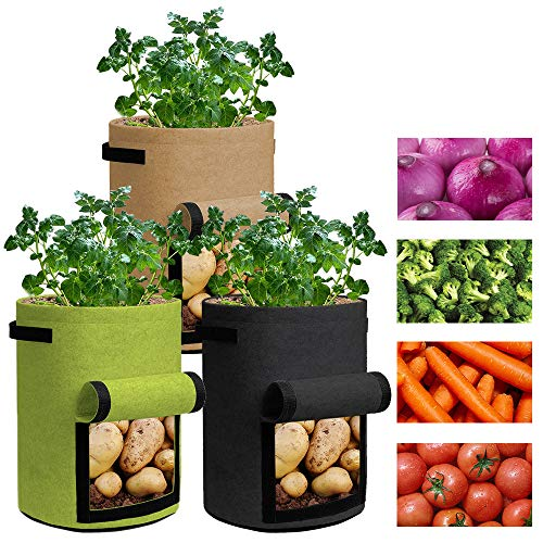 Grow Bags 7 Gallon - 3 Pack Potato Grow Bags Two SidesVelcro Window Vegetable Grow Bags, Double Layer Premium Breathable Nonwoven Cloth for Potato/Plant Container/Aeration Fabric Pots with Handles