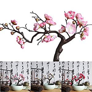Artificial Flower Decor, Allywit Artificial Plum Blossom Branches Flowers Stems Silk Fake Floral Bouquet for Home Office Wedding Party 36