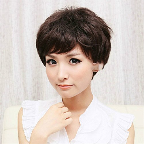 Suuny Queen New Stylish Synthetic wigs Pixie cut wig Short Straight hair Brown Fluffy Highlights wig cap for women Glamorous Fashion