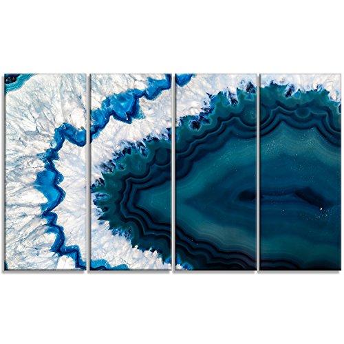 Design Art PT14377-48-28-4P Blue Brazilian Geode - Abstract Canvas Wall Art Print,,48x28 - 4 Panels by Design Art