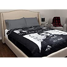 Supernatural Brand New Adults Ultra Soft Quilted Black/White Standard Character Printed Fleece Comfortable Cover Throw Blanket 60x80-inch