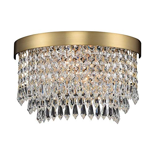 (Allegri 033920 Tavo - Two Light Wall Sconce, Winter Brass Finish with Firenze Crystal )