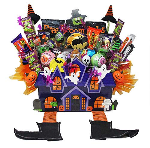 Halloween Haunted House Candy Bouquet Loaded with Twix Ghosts, Snickers Jack-O-Lanterns, Reese's Pieces King Size Chocolate Bars and Assorted Candy. Arranged in a Spooky House Gift ()