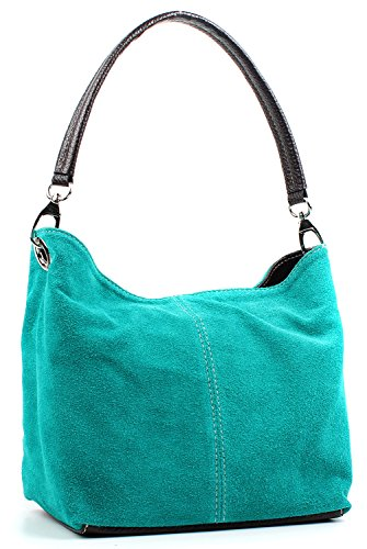 Small Handbag Shoulder Italian Teal Aossta Bag Leather Ladies Tote Suede Real qRw0R7xW1X