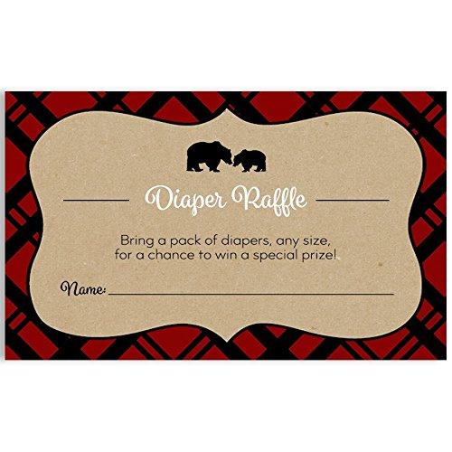 Baby Shower Diaper Raffle Ticket, Lumberjack Baby Shower, Tan, Red, Black, White, Mama Bear, Baby Bear, Baby Shower Games, Set of 24 Printed Diaper Raffle Tickets