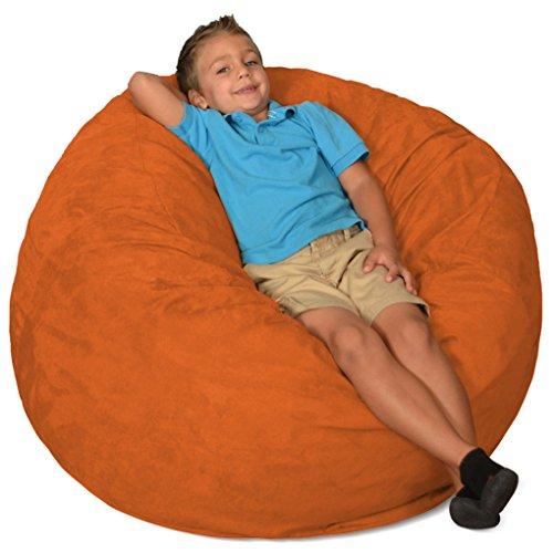 Comfy Sacks 3 ft Memory Foam Bean Bag Chair, Tangerine Micro Suede