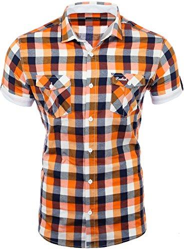 Shirt à à Bodycon carreaux carreaux Orange hommes carreaux pour à Rs Reslad 7065 UGMSzVqp