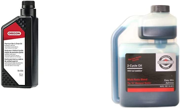 Oregon 54-026 Chainsaw Bar and Chain Oil, 1 Qt & Briggs & Stratton 2-Cycle Easy Mix Motor Oil - 16 Oz. 100036
