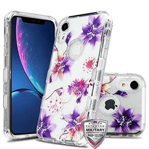- Case+Tempered_Glass+Stylus, TUFF Lucid Hybrid Protector Cover [Military-Grade Certified] Fits Apple iPhone XR/iPhone 9 MYBAT Transparent Clear/Stargazers Purple/Pink Flowers