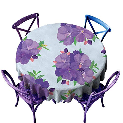 Dabuniu Tablecloth for Kids/Childrens,Seamless Pattern with Beautiful Purple Princess Flower or tibouchina urvilleana and Leaf on Blue Background,Resistant/Spill-Proof/Waterproof Table Cover,50 INCH