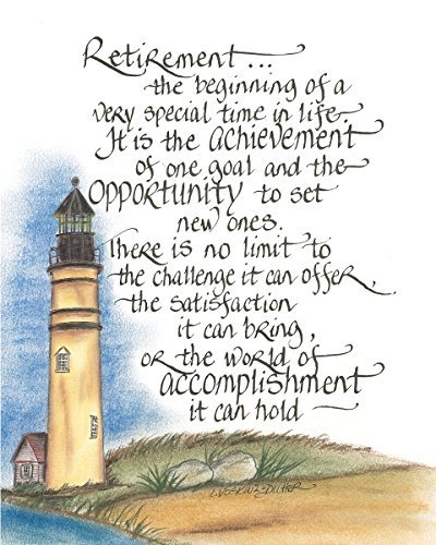 Lighthouse Tower Retirement 14 x 11 inch Inspirational Decorative Sign Plaque ()
