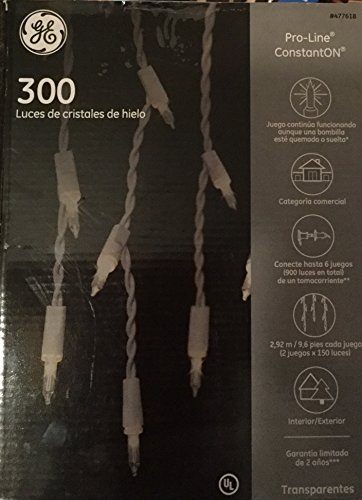 300 GE Clear Icicle-style Lights Pro-line ConstantON 477618