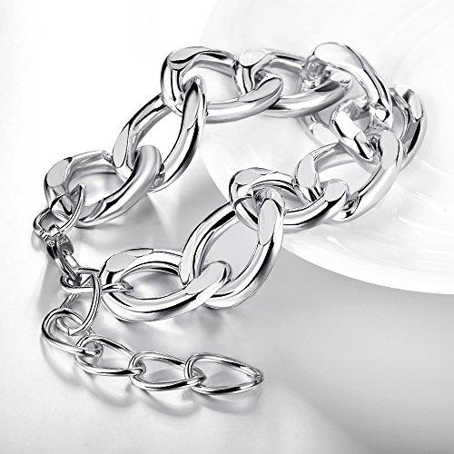 B.Z La Vie Chaine Grosse Femme 18+7cm Métal Boite Bracelet Argent Plaqué