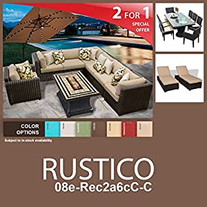 Rustico 19 Piece Outdoor Wicker Patio Furniture Package RUSTICO-08e-Rec2a6cC-C