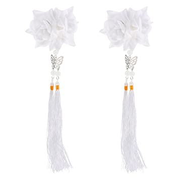 Amazon monkeyjack 2pcs tassel flower hair clips alligator clip monkeyjack 2pcs tassel flower hair clips alligator clip hanfu cosplay hair accessories white mightylinksfo
