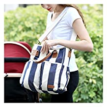 Aisawate Best Diaper Bag 2017 Organizer with Multipockets W/Stroller Straps and Changing Pad, Blue and White Striped