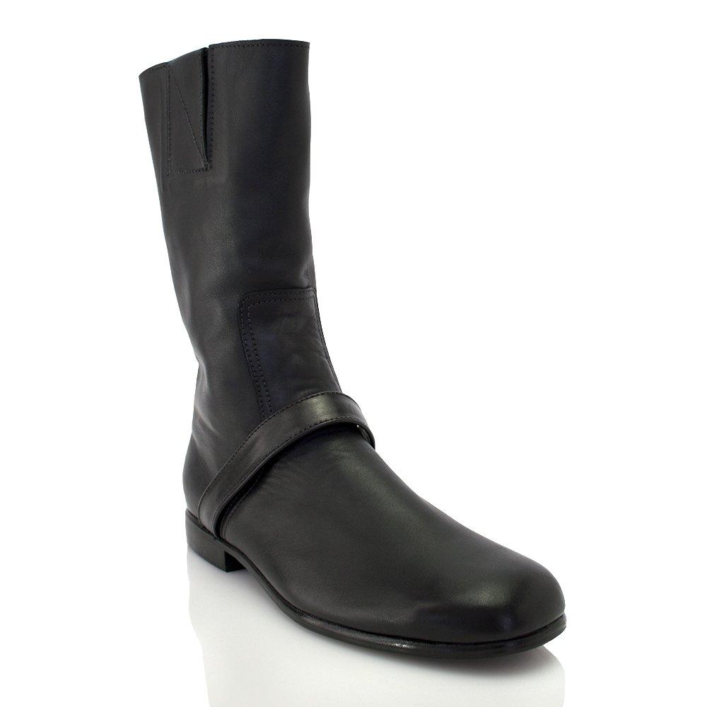 NEWBARK New Black Leather Mid Calf Boot B00YNI6SVA 11 B(M) US Black