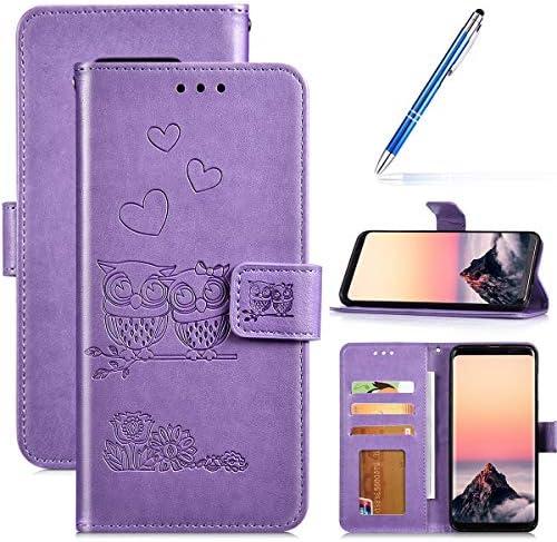 Robinsoni Case Compatibel met Samsung Galaxy S8 Plus Telefoonhoesje Portemonnee PU Lederen Cover Schokbestendig Kickstand Case Folio Flip Notebook Style Cover Samsung Galaxy S8 Plus Owl Printed Purple
