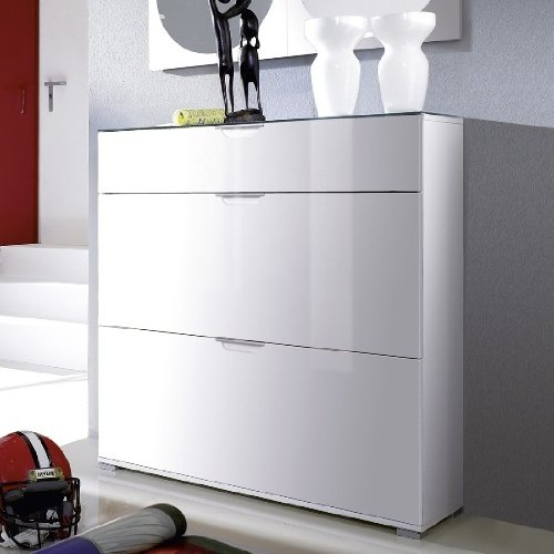 California 3 Drawer Shoe Cabinet (Glass Top / White) [1853-84 ...