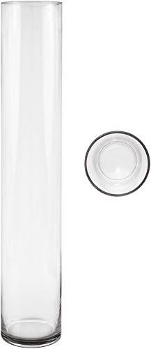 Mega Vases Cylinder Vase 4 Inch x 24 Inch, Decorative Clear Glass with Sturdy Base, Wedding Centerpieces, Flower Bouquets, Home D cor, Celebrations, Parties, Event Planning, Arts Crafts