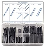 Spring Steel Slotted Spring Pin Assortment (300 Pieces), Plain Finish, Inch, With Case