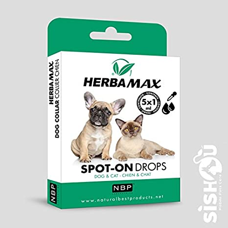 Natural Best Products herbamax Spot-on Drops/pipetas Perro Gato 5 x 1ml