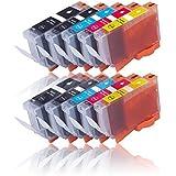 10 Druckerpatronen für CANON PIXMA IP4840 IP4850 IP4900 IP4950 IX6250 IX6550 MG5100 MG5140 MG5150 MG5200 MG5240 MG5250 MG5300 MG5340 MG5350 MX710 MX715 MX884 MX885 MX890 MX895 etc. mit Chip, kompatibel zu CANON PGI525 CLI526
