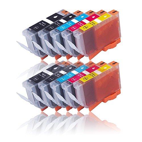 10 Druckerpatronen für CANON PIXMA MG5100 MG5150 MG5200 MG5250 MG5350 MX715 MX885 etc. mit Chip, kompatibel zu CANON PGI525 CLI526
