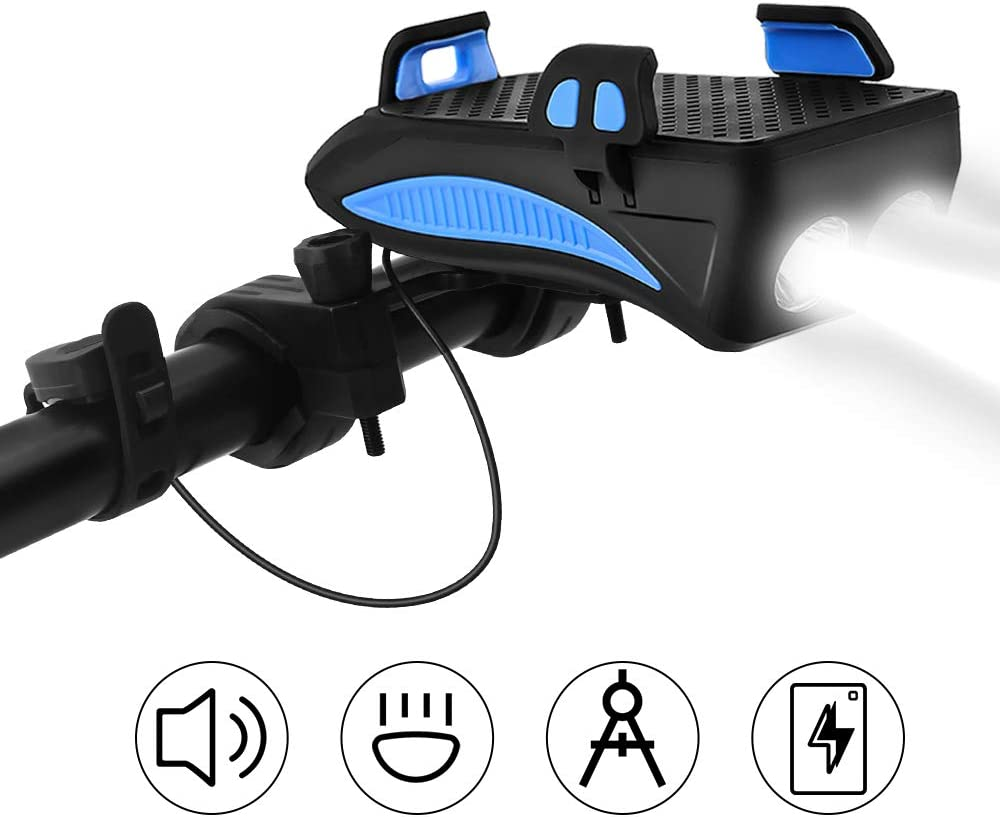 CS Force Bike Light Set Bicycle Front Light USB Rechargeable Waterproof Cycling Headlight with Loud Sound Siren 3 Lighting Modes, 5 Sounds, Fits Mountain Road Bike