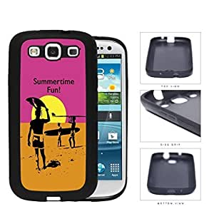 Summertime Fun Sunset Surfers PC Silicone Hard Cell Phone Case Samsung Galaxy S3 SIII I9300