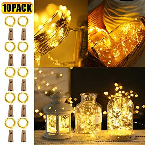 Hengda 10 Stück Flaschenlicht, Lichterkette Batterie Licht Deko, Warmweiß 20 LEDs 2M led Lichterkette Innen mit Kork Schnurlicht für Flasche DIY Party Dekor Weihnachten Hochzeit Stimmungslichter